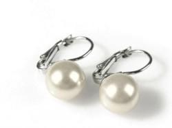 Něžné a decentní náušnice s barevnou perlou. Svatební doplněk ...